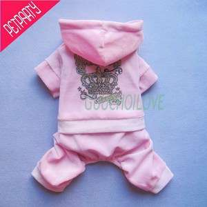 Dog Puppy Pants Pink Shirt Coat Clothes Hoodie Princess Luxury