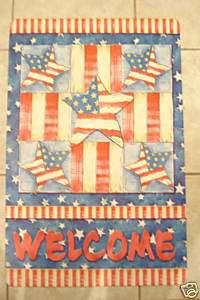 PATRIOTIC AMERICAN RED WHITE BLUE STARS WELCOME DOORMAT
