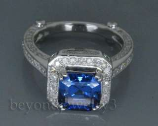 7X7mm princess cut Solid 14Kt White Gold Gold 3.08ct Diamond blue