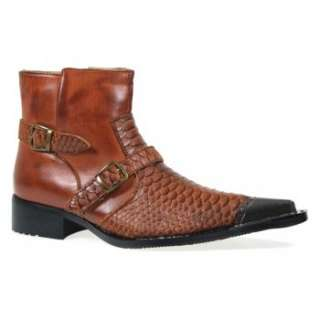 Mens Ankle Length Buckle Snake Skin Full Zip Western Cowboy Boots Tan