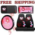 New 5pc Set Pink Hearts Hello Kitty Seat Covers Steering Wheel Cover