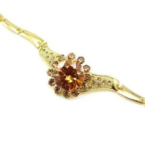 Perfect Gift   High Quality Elegant Bracelet with Brown CZ   23cm (545