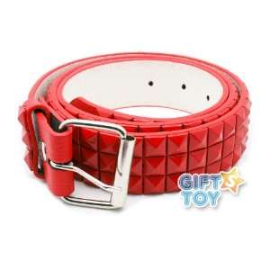 Red 3Row Pyramid Studded Punk Leather Belt (Large