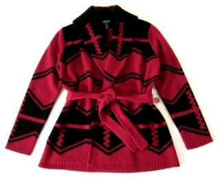 RALPH LAUREN red black Navajo indian blanket belted shawl sweater L