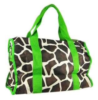 Giraffe Print Peace Sign Duffel Bag Lime Green Trim