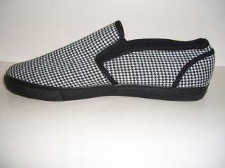 AMERICAN RAG CYRUSBWC New Black White Check Mens Slip On Shoes Loafers