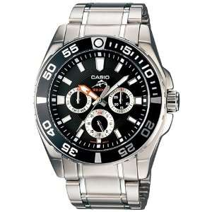 Silver Stainless Steel Quartz Watch with Black Dial Casio Watches