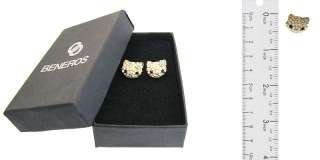 Cute Swarovski Crystal & Opal Hello Kitty Gold Stud Earrings Green