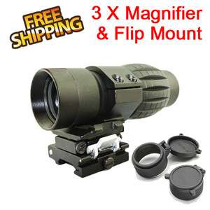 New Quick Release Tactical 3x Magnifier Rifle Scope w /Flip Side Mount