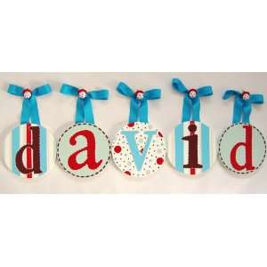 Davids Hand Painted Round Wall Letters: Home & Kitchen