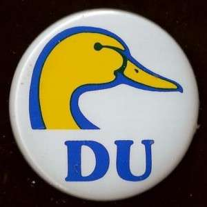 DUCKS UNLIMITED BLUE DUCK HEAD LOGO PIN BACK BUTTON