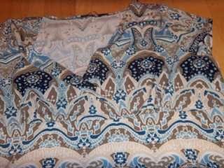 Womens Blue Brown PRINT WRAP Empire SHIRT Top Blouse 18/20 PLUS SIZE