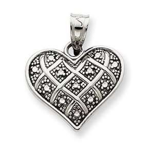 14k White Gold Diamond cut Quilted Heart Pendant Jewelry