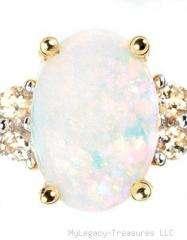 solid opal diamond 14K gold ring Australian red pink yellow green