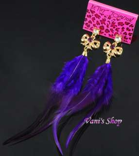 BETSEY JOHNSON Jewelry purple Feather earrings .