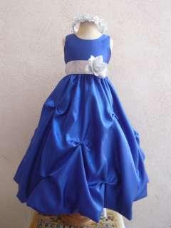 PURPLE ROYAL BLUE FLOWER GIRL DRESS RECITAL BRIDESMAID