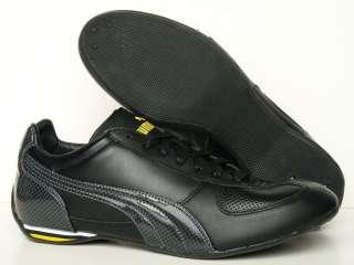 New Puma Racer Carbon Black Leather Mens Shoes US9.5 RARE