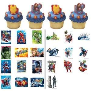 24 Iron Man Avengers Cupcake Rings with 22 Avengers Stickers and Tats
