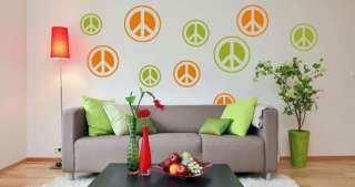 12 LARGE Peace Sign Vinyl/Stickers Wall Decal Decor