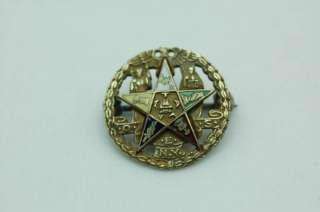 EASTERN STAR 10K GOLD & ENAMEL PIN MASONIC