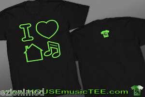 NEON GREEN Logo I LOVE HOUSE MUSIC Tee T shirt dance