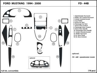 Dash Kit Trim for Ford Mustang convertible 1994 2000 Interior