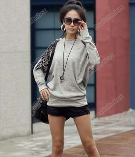 Women Leopard Batwing Round Neck Tops Blouses Long Sleeve T Shirt