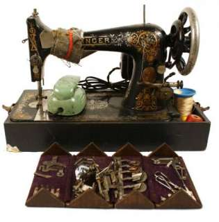 Antique Singer Sewing Machine 1906 w/ case and accessory box(2737