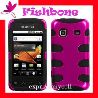 Hot Pink FISHBONE 2 Layers Case Cover Prepaid SAMSUNG GALAXY PRECEDENT