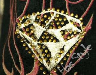 Christian Audigier Skull Crown Stones T Shirt long sleeve Black XL