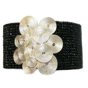 Flower Flor de Espirales Black Mesh Glass Seed Beaded Cuff Bracelet
