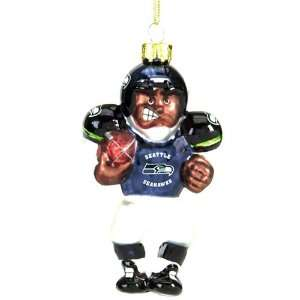 SC Sports Seattle Seahawks Glass Football Player Ornament