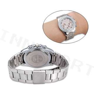 Bling White Crystal Silver Band Girl Ladies Wrist Watch