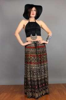 vtg 70s Ethnic BOHO Floral Batik Draped INDIA GAUZE Festival Hippie