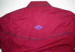 KZK WOMENS Cowgirl WESTERN Maroon Southwestern Embroidery SHOW SHIRT M
