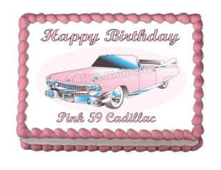 59 PINK CADILLAC HAPPY BIRTHDAY EDIBLE CAKE IMAGE