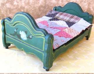Antique DOLL BED,Cottage PinePainted Flowers & QUILT