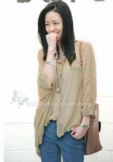 Korean Style Womens See through Chiffon Button Shirt Loose Tops Blouse
