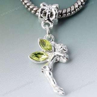 5x Olive Green Crystal Angel Fairy Dangle European Hole Bead Fit Charm