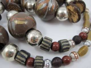 Chunky Painted Wood, Shell & Glass Bead Necklace 24