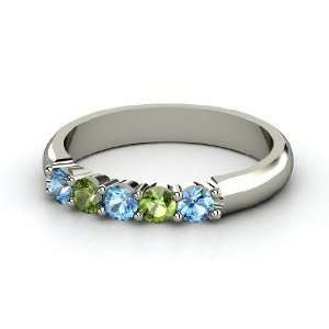 Ring, 14K White Gold Ring with Blue Topaz & Green Tourmaline Jewelry