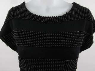 PHILLIP LIM Black Beaded Short Sleeve Dress Sz S