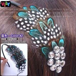 VILY Fascinator Feather Crystal Hair Headband Mixwan #2