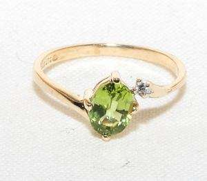 Estate 10K Sol Gold .97ct Peridot & Diamond Womans Ring