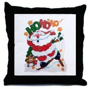 Throw Pillow Merry Christmas Santa Claus Skiing Ho Ho Ho
