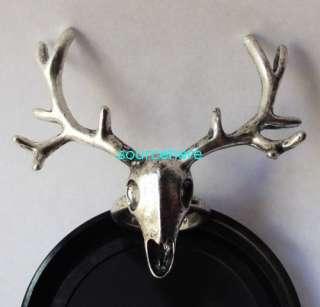 Womens Mens Gold Tone Deer Ring Cute Antler Vintage Anti Silver Rings