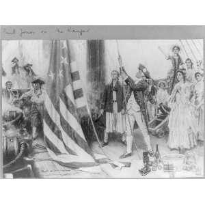 John Paul Jones,1747 1792,unfurling his flag on the RANGER