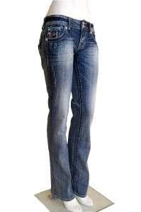 Miss Me Womens Jeans Peace Sign & Cross JP5002B53 SZ 27 Boot Stretch