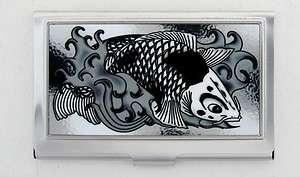 Koi Fish Black White Business Card Metal Holder Tattoo Art NEW