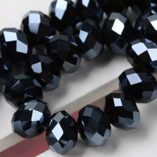 Black Crystal Glass Abacus Faceted Loose Beads 6*8MM